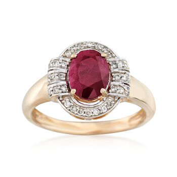 1.40 Carat Ruby and .18 ct. t.w. Diamond Ring in 14kt Yellow Gold, , default