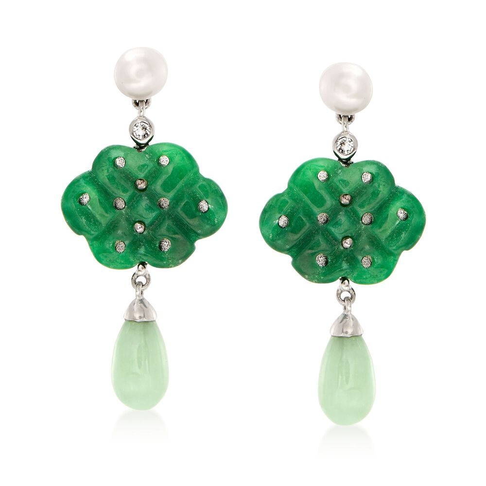 5 6mm Cultured Pearl And Carved Jade Drop Earrings With White Topaz Accents In Sterling