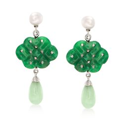 5.5-6mm Cultured Pearl and Carved Jade Drop Earrings With White Topaz Accents in Sterling , , default