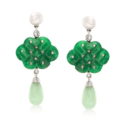 5.5-6mm Cultured Pearl and Carved Jade Drop Earrings With White Topaz Accents in Sterling, , default