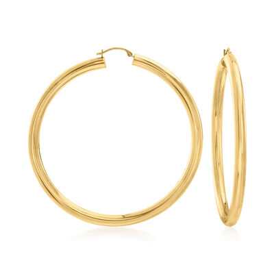 Andiamo 14kt Yellow Gold Over Resin Large Hoop Earrings