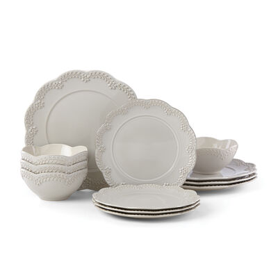 "Lenox ""Chelse Muse"" Floral Gray Ironstone Dinnerware Set , , default"
