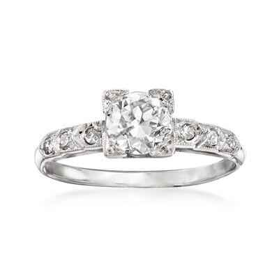 C. 1950 Vintage .75 Carat Diamond Ring with Diamond Accents in Platinum