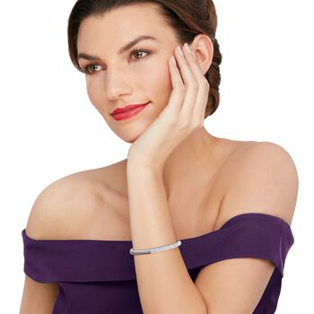 ".95 ct. t.w. Diamond Top Cuff Bracelet in 14kt White Gold. 7"", , default"
