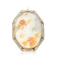 C. 1950 Vintage 47x36mm Shell Cameo Pin Pendant in 14kt White Gold , , default