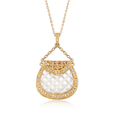 C. 1990 Vintage Mother-Of-Pearl and .69 ct. t.w. Diamond Purse Pendant Necklace in 14kt and 18kt Yellow Gold, , default