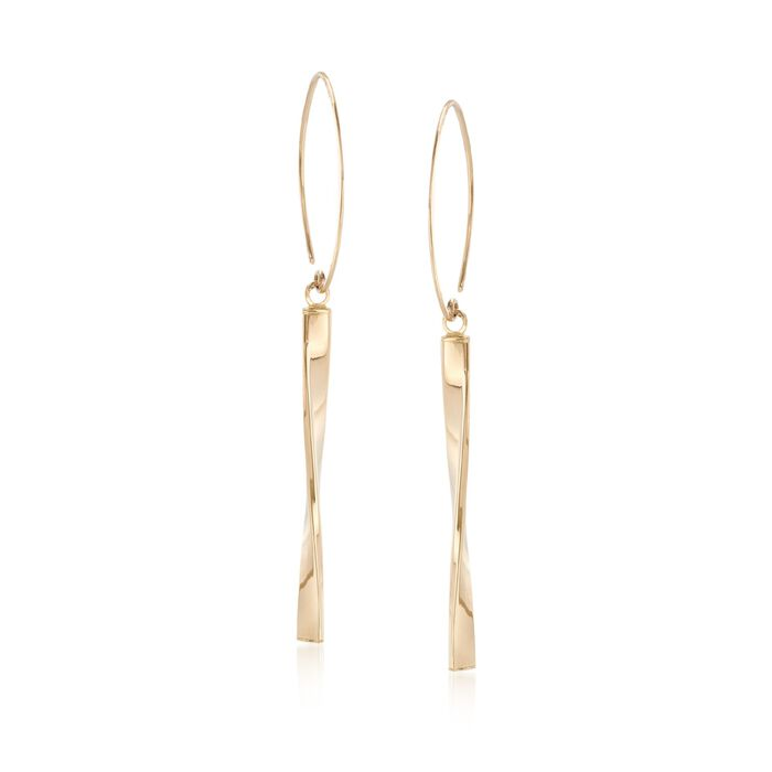 14kt Yellow Gold Open Circle and Twisted Bar Drop Earrings , , default