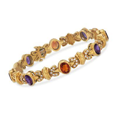 C. 1990 Vintage Cellino 10.20 ct. t.w. Multi-Stone Bracelet in 18kt Yellow Gold, , default