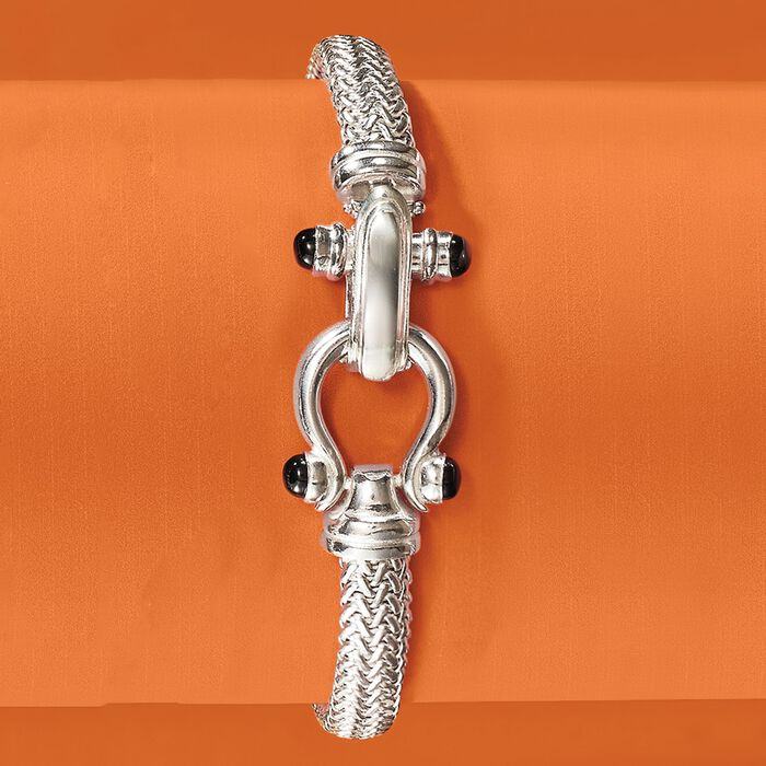 Italian Sterling Silver Horsebit Bracelet with Black Onyx