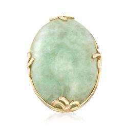 Cabochon Jade Ring in 18kt Gold Over Sterling, , default