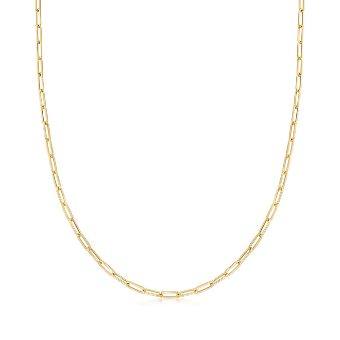 Italian 18kt Yellow Gold Paper Clip Link Necklace, , default