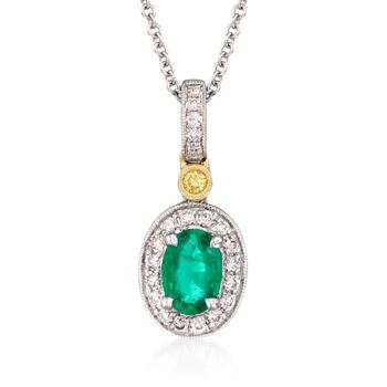 """Simon G. .45 Carat Emerald and .14 ct. t.w. Yellow and White Diamond Pendant Necklace in 18kt Yellow and White Gold. 18"""", , default"""