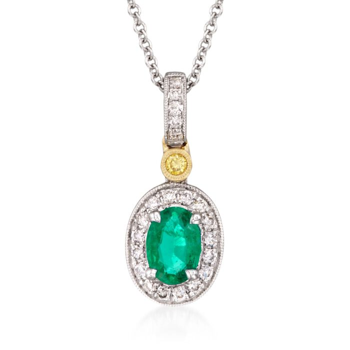 "Simon G. .45 Carat Emerald and .14 ct. t.w. Yellow and White Diamond Pendant Necklace in 18kt Yellow and White Gold. 18"", , default"