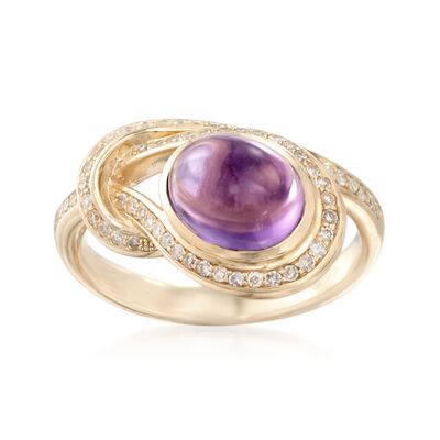 2.00 Carat Amethyst and .30 ct. t.w. Diamond Knot Ring in 14kt Yellow Gold, , default