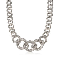 Italian Sterling Silver Graduated Curb Link Necklace, , default