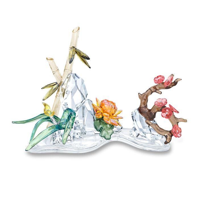 "Swarovski Crystal ""Four Noble Plants"" Multicolored Crystal Figurine"