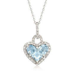 "1.80 ct. t.w. Aquamarine and .20 ct. t.w. Diamond Heart Pendant Necklace in Sterling Silver. 18"", , default"