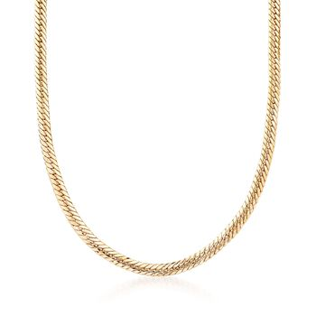 18kt Yellow Gold Over Sterling Silver Graduated Flat Cuban-Link Necklace, , default