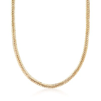 18kt Yellow Gold Over Sterling Silver Flat Cuban-Link Necklace, , default