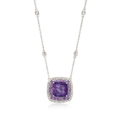 Gregg Ruth 3.20 ct. t.w. Amethyst and .27 ct. t.w. Diamond Necklace in 18kt White Gold