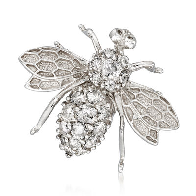 C. 1980 Vintage .80 ct. t.w. Diamond Bee Pin/Pendant in 14kt White Gold
