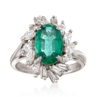 C. 1990 Vintage 1.65 Carat Certified Emerald and 1.15 ct. t.w. Diamond Ring in Platinum, , default