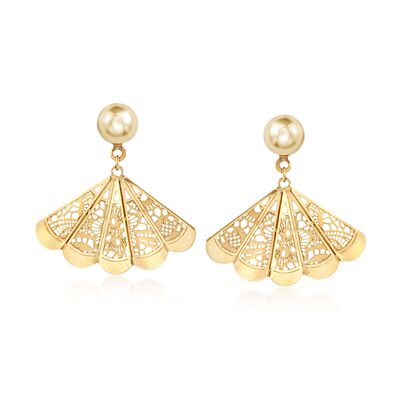 Italian 18kt Yellow Gold Filigree Fan Earrings, , default