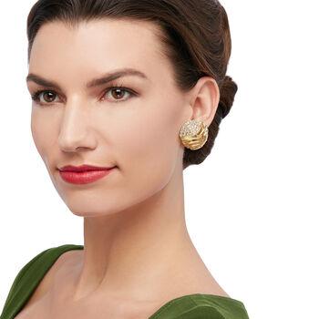 C. 1980 Vintage Jose Hess 4.00 ct. t.w. Diamond Clip-On Earrings in 18kt Yellow Gold
