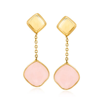 Italian Pink Opal Drop Earrings in 14kt Yellow Gold