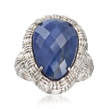 11.00 Carat Opaque Sapphire Basketweave Ring in Sterling Silver, , default