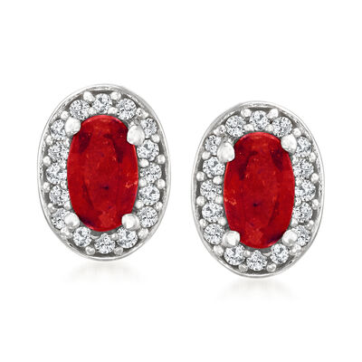 .50 ct. t.w. Ruby and .12 ct. t.w. Diamond Earrings in Sterling Silver