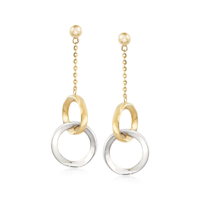 14kt Two-Tone Gold Open-Circle Drop Earrings, , default