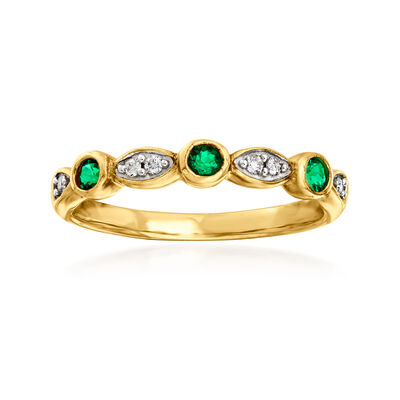C. 1980 Vintage .20 ct. t.w. Synthetic Emerald and Diamond-Accented Ring in 9kt Yellow Gold