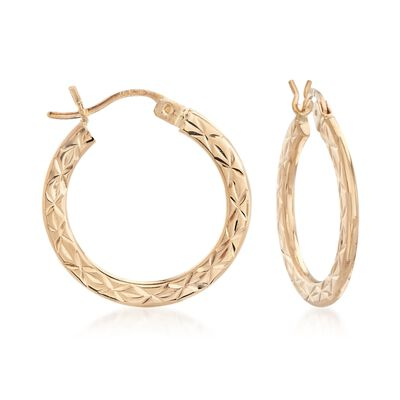 14kt Yellow Gold Star Patterned and Polished Hoop Earrings, , default
