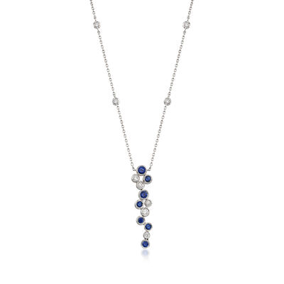 Gregg Ruth .49 ct. t.w. Sapphire and .22 ct. t.w. Diamond Bubble Bezel-Set Necklace in 18kt White Gold, , default