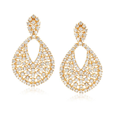 6.25 ct. t.w. Diamond Oval Drop Earrings in 18kt Yellow Gold