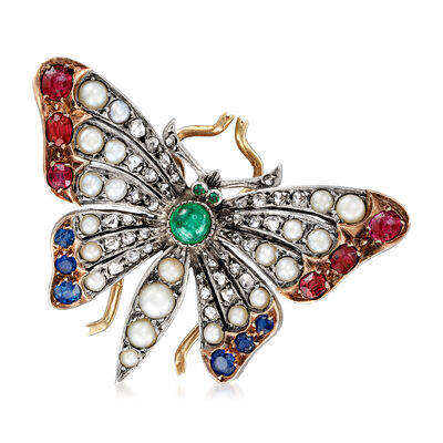C. 1930 Vintage Cultured Pearl, 1.47 ct. t.w. Multi-Gemstone and .65 ct. t.w. Diamond Butterfly Pin in Sterling Silver with 14kt Yellow Gold, , default
