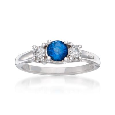 .80 Carat Sapphire and .30 ct. t.w. Diamond Ring in 14kt White Gold, , default