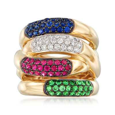 1.50 ct. t.w. Multi-Stone and .44 ct. t.w. Diamond Ring in 14kt Yellow Gold, , default
