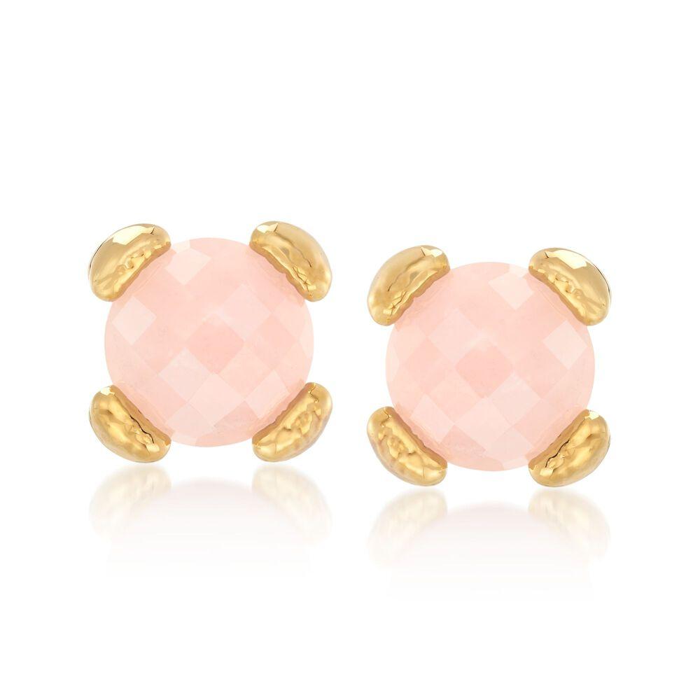 Italian Andiamo Rose Quartz Earrings In 14kt Gold Default