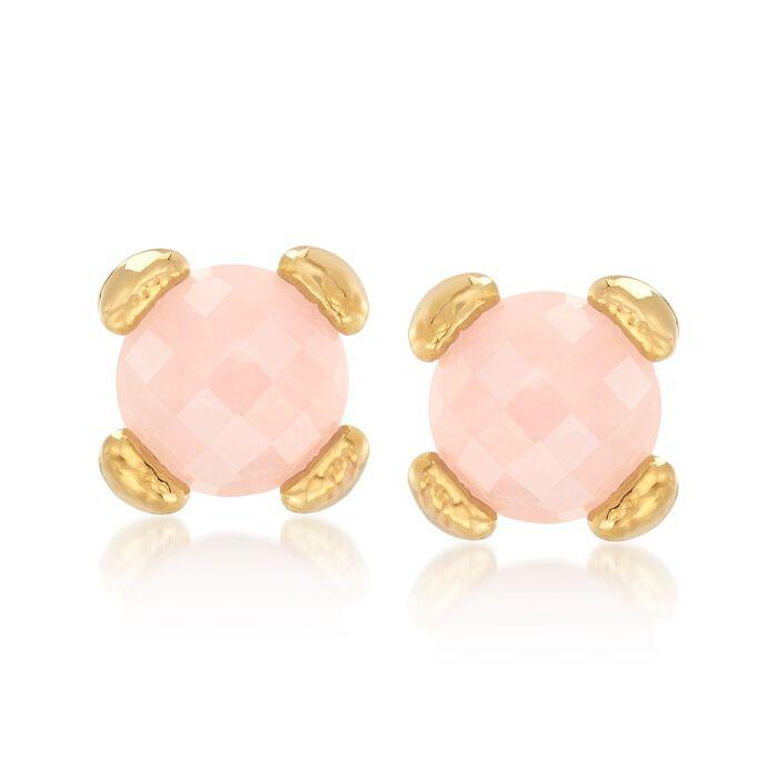 Italian Andiamo Rose Quartz Earrings in 14kt Gold , , default