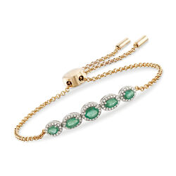 .70 ct. t.w. Emerald and .25 ct. t.w. Diamond Bolo Bracelet in 18kt Yellow Gold Over Sterling, , default