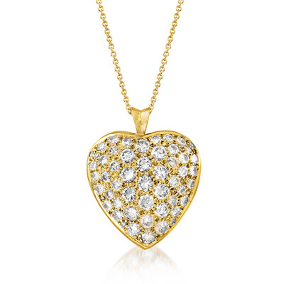 C. 1980 Vintage 3.50 ct. t.w. Diamond Heart Pendant Necklace in 18kt Yellow Gold