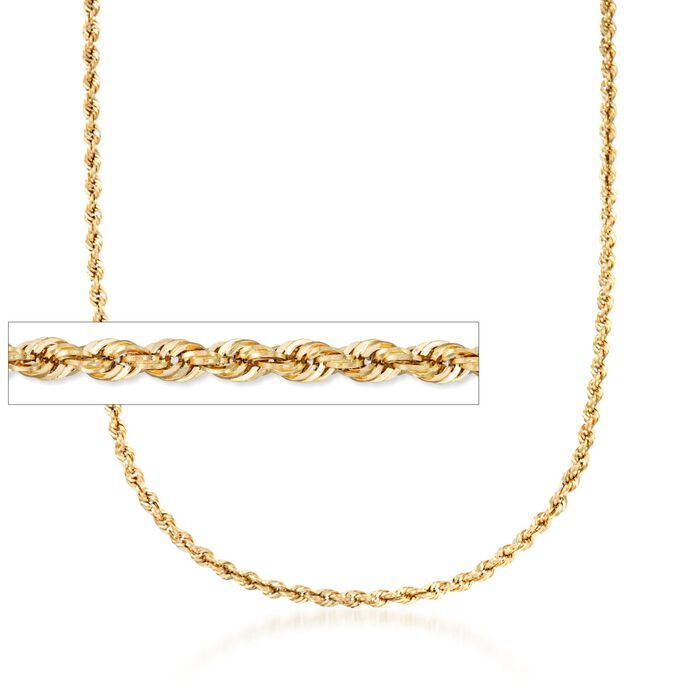 4mm 14kt Yellow Gold Rope Chain Necklace, , default