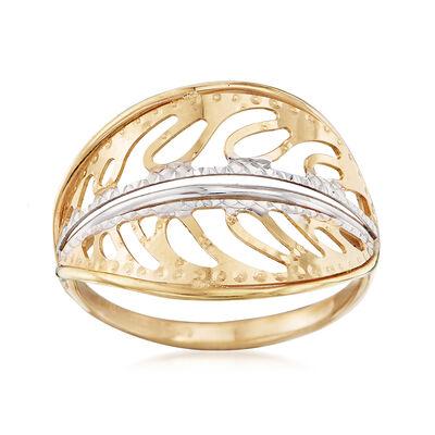 Italian 18kt Two-Tone Gold Leaf Ring, , default