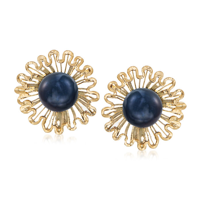 Italian 7.5mm Black Cultured Pearl Floral Stud Earrings in 18kt Yellow Gold, , default