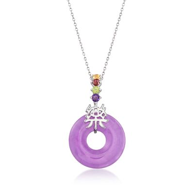 "Purple Jade and .35 ct. t.w. Multi-Stone ""Happy"" Pendant Necklace with Sterling Silver, , default"