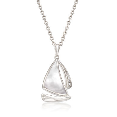 Mother-Of-Pearl Sailboat Pendant Necklace with Diamond Accents in Sterling Silver, , default