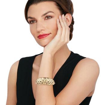 "14kt Yellow Gold Textured Bangle Bracelet. 7"", , default"