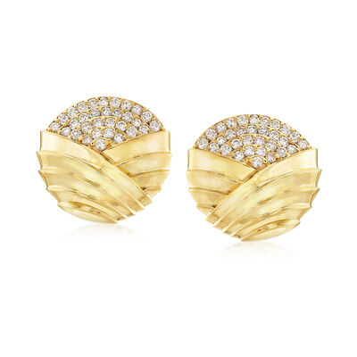 C. 1980 Vintage Jose Hess 4.00 ct. t.w. Diamond Clip-On Earrings in 18kt Yellow Gold, , default